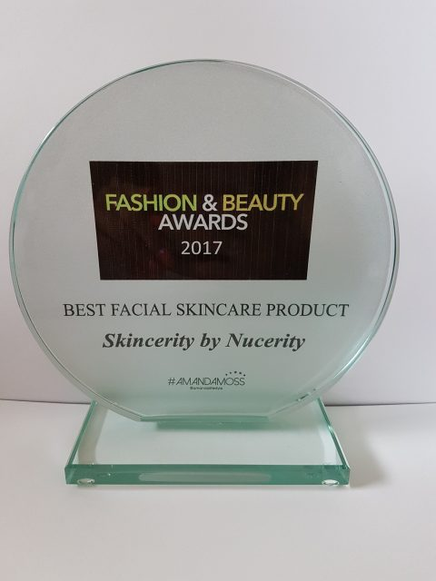 Skincerity won Best Facial Skincare Product at the 2017 UK Fashion & Beauty Awards