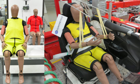 The elderly crash test dummy by Humanetics in a pre-test setup at Honda R&D.