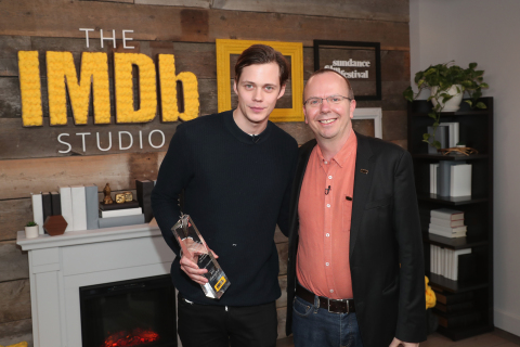 PARK CITY, UT - JANUARY 21: IMDb STARmeter Award Winner Bill Skarsgard and IMDb Founder and CEO Col Needham pose at The IMDb Studio and The IMDb Show on Location at The Sundance Film Festival on January 21, 2018 in Park City, Utah. (Photo by Rich Polk/Getty Images for IMDb) *** Local Caption *** Bill Skarsgard;Col Needham