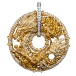 BIG-DA14670 030406 Shanghai XL pendant in yellow gold, yellow sapphires and diamonds