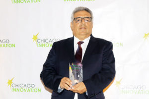 Dr. Youssry Botros, Co-Founder and CEO of PanaceaNano, Inc. with the Chicago Innovation Award at the Ceremony on October 29, 2018