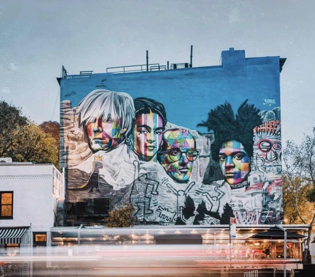 NYC Kobra Mural in collaboration with HG above the landmark Empire Diner