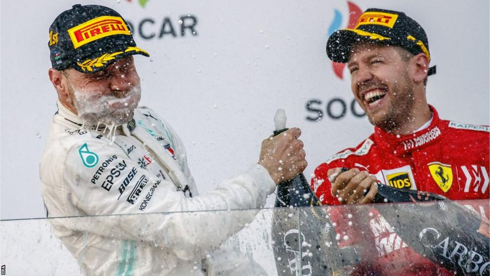 The victory champagne fizzed a bit too much for Valtteri Bottas as the Finn celebrated his eighth win in Formula 1 with third-placed Sebastian Vettel