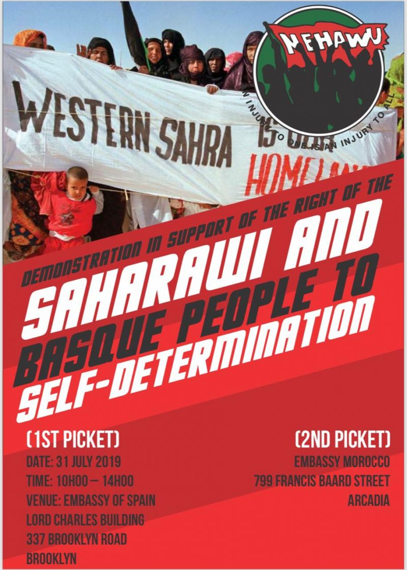 Join us tomorrow when we call for mass support of demonstration in support of Western Sahara