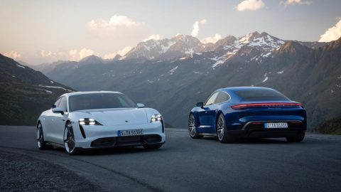 The Porsche Taycan Sports car. Sustainably redesigned