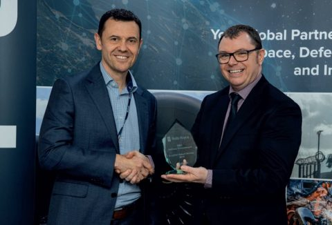Belcan's Keith Matthews (left) receives the 2019 Rolls-Royce GBS Procurement Supplier of the Year Award from Rolls-Royce's Dean Fell (right). Belcan was recognized for its outstanding service to Rolls-Royce, and is one of only two suppliers to receive this prestigious award. Rolls-Royce recognized the key achievements Belcan made in cost reduction, quality, and delivery excellence for the company throughout the year.